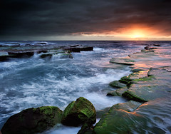 At Last! (brentbat) Tags: water sunrise dawn weed rocks turimetta vosplusbellesphotos