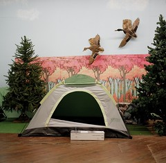 camping display (lisa scheer) Tags: camping display tent greensboro hasselblad501cm kodakportra160nc autaut