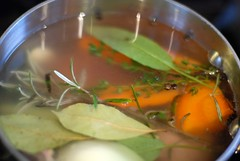 Boiling chicken and making broth