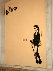 Vanità (*EGO*) Tags: camera red italy woman streetart sexy art girl beauty ego stencil italia chica arte titts vanity bat cctv skirt lips spray spy murales puglia bari andria apulia estencil telecamera sensuale vanità ego81