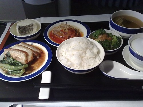 Clockwise from bottom left: stewed pork belly Dong Po style, steamed Chilean bass in ginger sauce, crumbed duck breast with sweet and sour spicy sauce, broccoli with shredded compoy, and double boiled pork soup with conpoy and Brazil wild mushrooms.