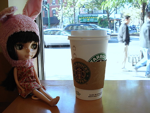 Claudia gets a coffee on Delancey and Allen