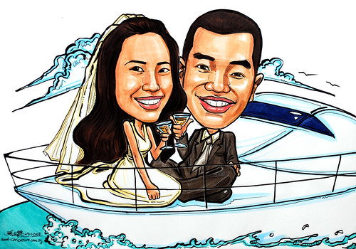 Couple wedding caricatures on yacht