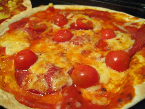Homemade Pizza - Salami, Baby Tomatoes and Smoked Cheddar with Tomato Sauce