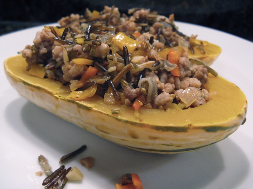 Delicata Squash stuffed with Wild Rice & Sausage