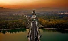 Top of Megyeri bridge (h.andras_xms) Tags: city bridge sunset high top down 1ds bubu markiii handras