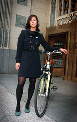 Arriving in Style (Bhlubarber) Tags: woman building fashion bike bicycle vancouver magazine cycling model marine style burrard momentum davidniddrie