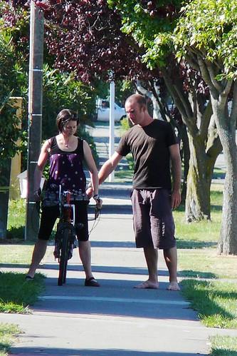 Teaching host Heather to ride the Street Machine GTe recumbent in Blenheim, New Zealand