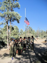 Boy Scout Camp (volvodadfast) Tags: california camp flag scout salutte
