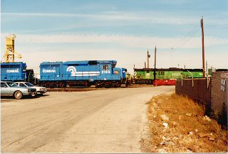 Conrail locomotives at the Burlington Northern RR, Clyde Yard locomotive terminal. Cicero Illinois. November 1987.