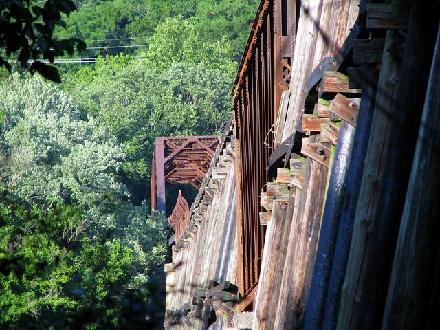 Long train bridge from an angle
