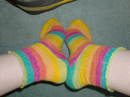 Rainbow striped Opal knitted socks