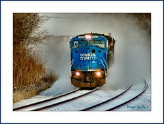 Avalanche on Rails (Images by A.J.) Tags: railroad winter snow train truck piggy pig back pennsylvania snowy ns norfolk rail railway trains southern pa transportation greensburg locomotive trailer piggyback trailers locomotives conrail  emd intermodal sd60m    westmorelandcounty top20rrpix dragondaggerphoto top2rrpixhf