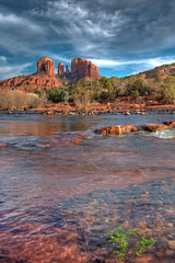 After the Rain (kcannon) Tags: blue wedding light sunset red arizona sky sunlight mountain storm mountains green art nature wet water beautiful beauty leaves rain clouds wow river landscape outside outdoors grey groom bride intense rocks stream pretty photographer crossing view desert outdoor gorgeous hill great gray sedona az pebbles tourist rapids special formation crisp stunning ripples flowing lovely fabulous graceful impressive cathedralrock cliche oakcreek flickrsbest karmapotd karmapotw