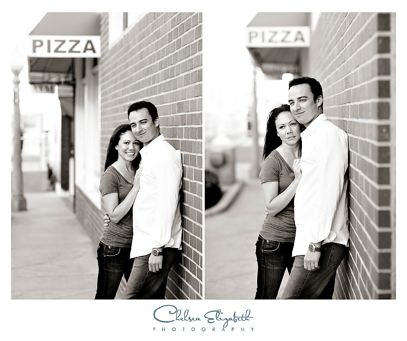 Newport Beach pizza and brick wall engagement photography