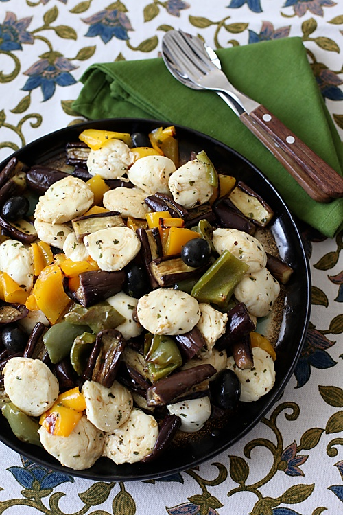 Grilled Eggplant And Bell pepper Salad With Bocconcini Cheese