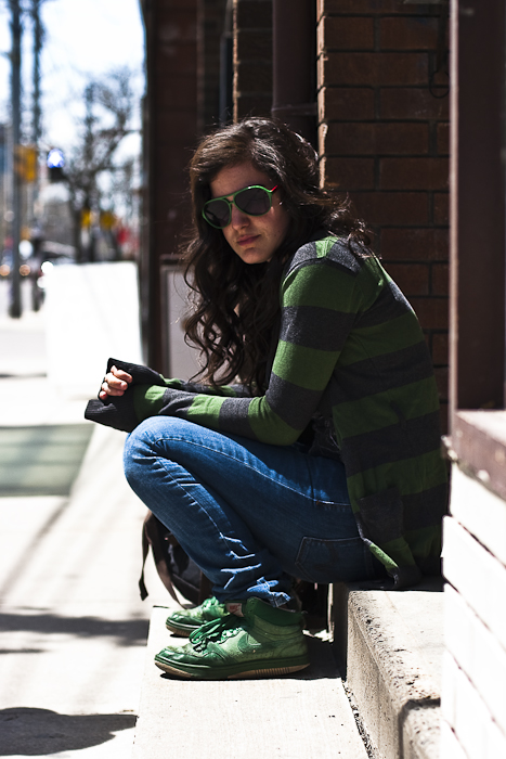 Green Nikeys, Street Fashion @ Queen St. W., Toronto