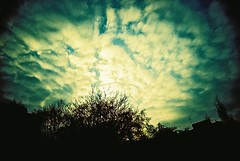 Velvia Cloudscape (james_whitty) Tags: camera sunset cloud clouds analog 35mm toy lomo xpro lomography fuji slim cross grain wide plastic velvia analogue process 50 fujichrome viv vivitar processed vignette ultra uws 50iso lomographic 22mm tumblr