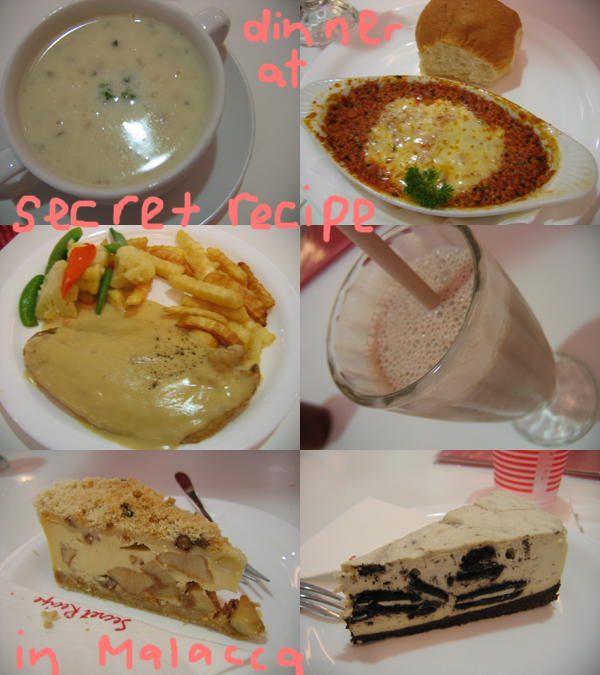 malacca. dinner at secret recipe