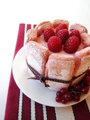 raspberry charlotte (joyce_l) Tags: cake fruit spring strawberry charlotte chocolate creme raspberry ladyfinger