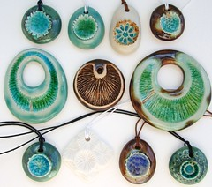 ceramic and glass pendants (c-urchin) Tags: uk ceramic handmade craft jewelry jewellery etsy seaurchin stoneware