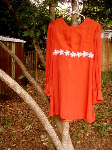 handmade coral daisy chain dress