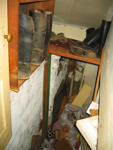 Basement stairs and riding boots