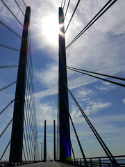Øresundsbron: Detail (sydandsaskia) Tags: bridge sun clouds copenhagen denmark sweden malmö drivebyshot