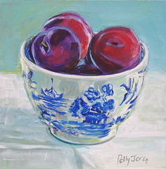 Plums In Blue Willow original painting (PollyPainting) Tags: stilllife white art kitchen painting acrylic purple bowl bluewillow plums pollypaintng