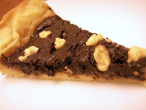 a wedge of nutella tart