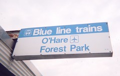 The CTA Blue line rapid transit station sign at Oak Park Avenue. Oak Park Illinois. July 2006.