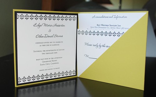 chartreuse pocketfold inside, Chartreuse wedding invitation pocketfold inside, wedding invitation, flowers, photos