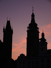Big Square-White Tower And Pinky Sky (ivik81) Tags: autumn hk czech september czechrepublic cz cr hradec cesko kralove