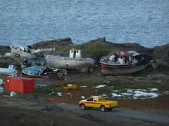 P1030912 (ezioman) Tags: road street abandoned car boats boat junk decay pickup arctic greenland inuit junkyard waste groenlandia eastgreenland abandonedboats ammassalik tasiilaq yellowpickup inuitcommunity taasilaq groenlandiaorientale