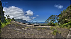 Old Pali Road (Ryan Eng) Tags: road old blue sky panorama abandoned clouds hawaii nikon view oahu path kaneohe polarizer hdr palilookout circular cs3 d90 photomatix digitalblending 18105mm
