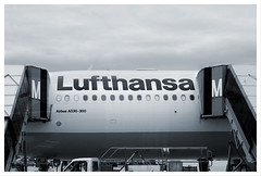 M and M Lufthansa, Munich, Germany (Grufnik) Tags: two truck plane germany munich münchen airplane landscape airport europe stair terminal m franz mounted josef passenger 2008 lufthansa strauss logotype disembark