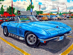 An oil pastel drawing of a mid-1960's Corvette Stingray convertible. (Steve Brandon) Tags: auto ontario canada art chevrolet car painting geotagged parkinglot classiccar automobile gm artist arte drawing pastel ottawa shell convertible voiture dessin chevy oil suburb 1960s pizzahut nepean corvette c2  sixties reeves grafica sportscar crayola bluecar chevroletcorvette oilpastel generalmotors corvettestingray stationnement pentel  emeraldplaza pastelpainting pasteldrawing chevycorvette americancar   royaldutchshell mungyo autoart  illustrazione    gmfyi merivaleroad merivalerd ruemerivale cheminmerivale    nassaublue   ottawaartist automobileart corvettepainting corvetteart  corvettestingraydrawing