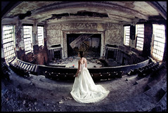 center stage (rob_fuel) Tags: wedding urban texture abandoned church bride glamour ruins theater dress audience stage exploring fisheye seats bridal stands aims urbex ttd nikon16mm citymethodist trashthedress nikond700