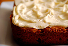 Pumpkin Chocolate Chip Cake With Cream Cheese Frosting.