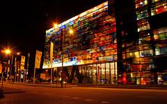 Beeld & Geluid by Night, Hilversum (lambertwm) Tags: orange building museum architecture modern night long exposure nacht hilversum multicolor beeld gebouw viewcount geluid lwmfav