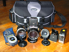MF bag - 10/08 (pete_mckay) Tags: 6x6 mediumformat mf nikkor camerabag bronicas2a nikkor75mmf28 nikkor50mmf35 s2a gossenlunasix3 japanesehasselblad komura150mmf35