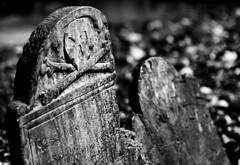 Rest in Peace... (Chaval Brasil) Tags: two bw usa abstract halloween monochrome cemetery graveyard sign boston canon geotagged unitedstates massachusetts explore ef100macro explored canoneos40d