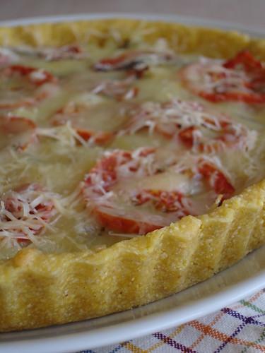 Polenta-crusted roasted ratatouille tart