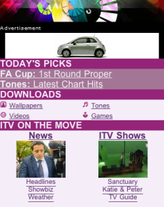 ITV Mobile homepage
