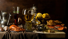 Dutch Still Life (kevsyd) Tags: stilllife dutch bread wine knife shell crab lemons roemer yabbie onephotoweeklycontest