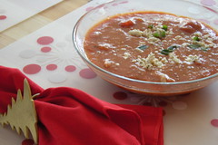 Tomato Soup with Crab and Feta