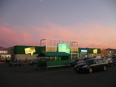 Food Basics and an Electric Purple Sky. (Steve Brandon) Tags: sky ontario canada cars geotagged evening twilight dusk ottawa supermarket ciel toyota suburb bluehour autos grocerystore nepean crpuscule automobiles voitures  purplesky picerie  supermarch   foodbasics        merivaleroad             fisherheights