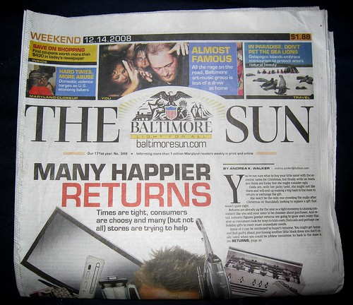 baltimore sun front page