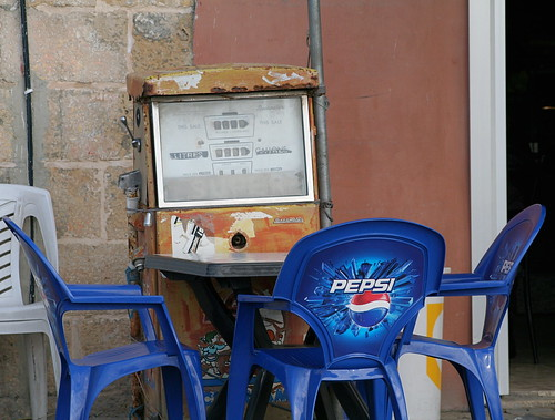 Large Pepsi please, hold the ice; Disused petrol pump, Marsaxlokk, Malta