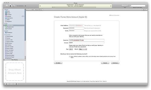 Detaliile necesare pentru Contul iTunes